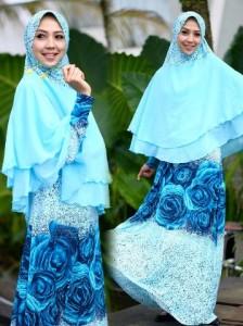 Busana Muslim Terbaru Sechan Syar'i by Layra Biru Muda