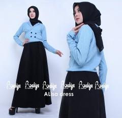 Busana Muslimah Terbaru Alisa Dress by Rabiya Biru