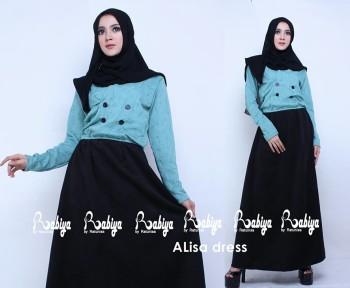 Busana Muslimah Terbaru Alisa Dress by Rabiya Biru Tosca