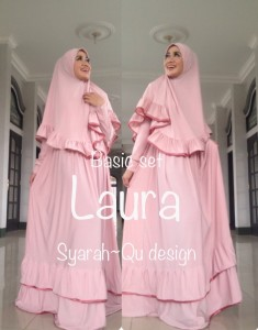 Busana Muslimah Terbaru Laura Syar'i by Syarahqu Design Baby Pink