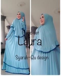 Busana Muslimah Terbaru Laura Syar'i by Syarahqu Design Biru