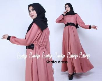 Busana Muslimah Terbaru Shafa Dress by Rabiya Dusty Pink
