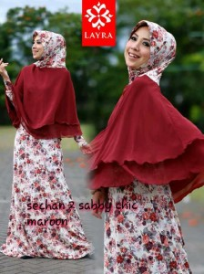 Busana Muslimah Terbaru Trendy Sechan Sabby Chic by Layra Maroon