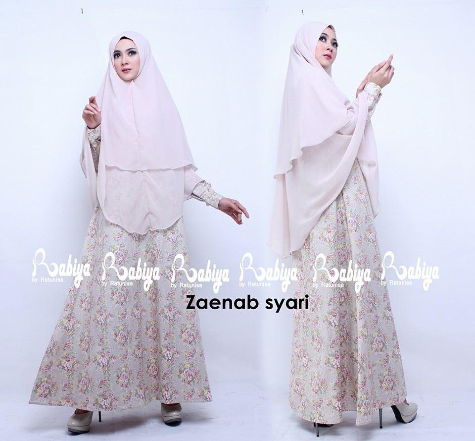 Zaenab Syar I Cream Baju Muslim Gamis Modern