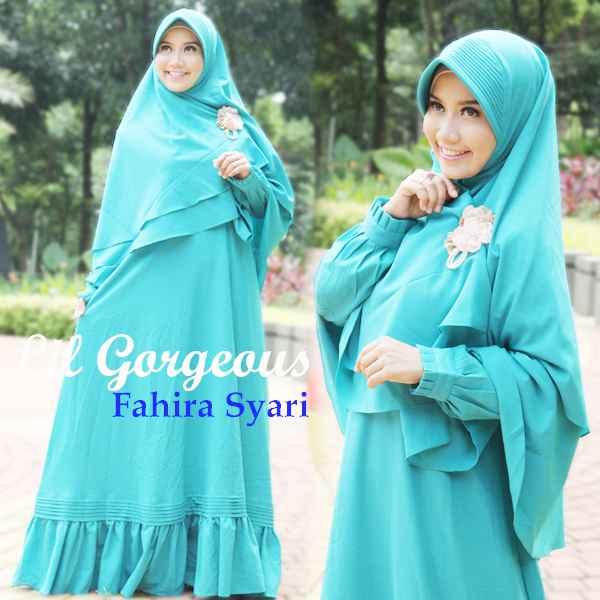 Fahira Hijau Tosca Baju Muslim Gamis Modern