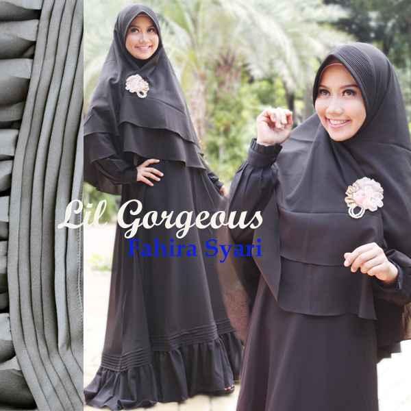 Koleksi Baju Muslim Syar'i Terbaru Fahira by Lil Gorgeous Hitam