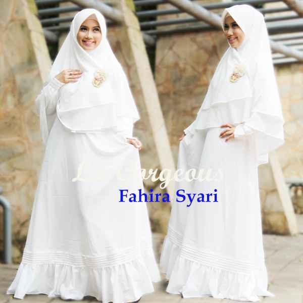 Fahira Putih Tulang Baju Muslim Gamis Modern