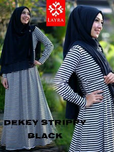 Koleksi Busana Muslim Terbaru De'key Strippy by Layra Black