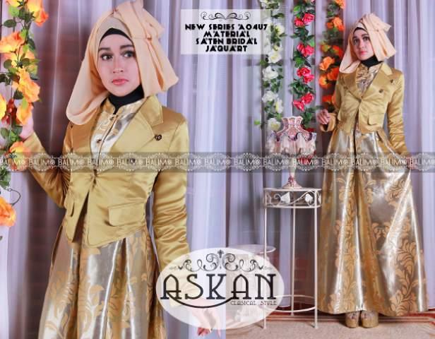 Askan Vol 2 Gold Baju Muslim Gamis Modern