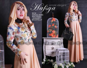 Model Terbaru Busana Muslim Wanita Modern Balimo Hafsya Peach