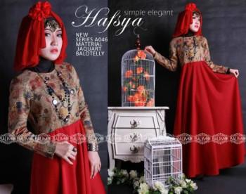Model Terbaru Busana Muslim Wanita Modern Balimo Hafsya Red