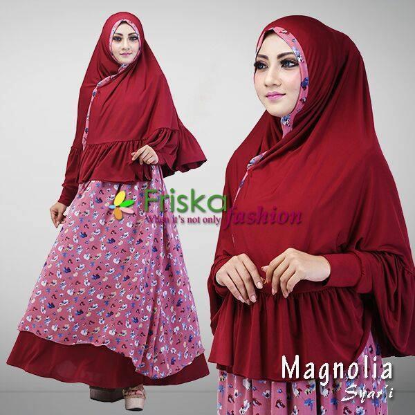 Magnolia Maroon Baju Muslim Gamis Modern