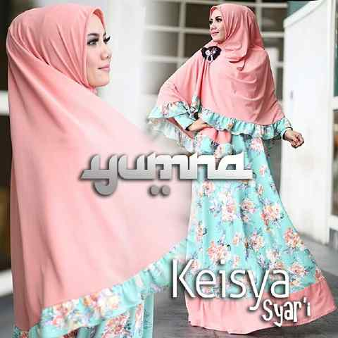 Trend Busana Muslimah Terbaru Keisya Syar'i by Yumna Peach-Baby Blue