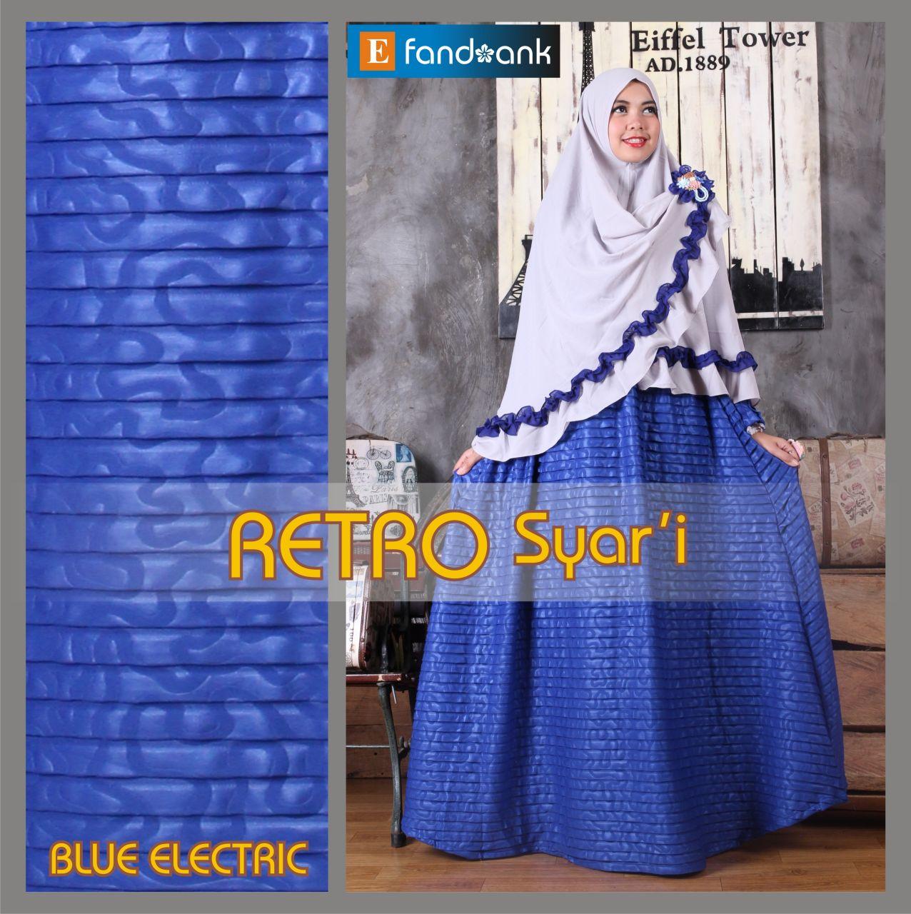 Retro Syar I Biru Electric Baju Muslim Gamis Modern