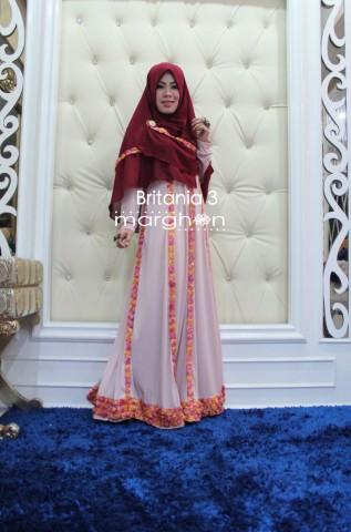 Trend Terbaru Busana Muslim Wanita Britania 3 by Marghon Maroon-Cream