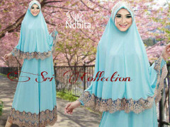 Trend Terbaru Busana Muslimah Nobita Syar'i by Sri Collection Biru Telur Asin