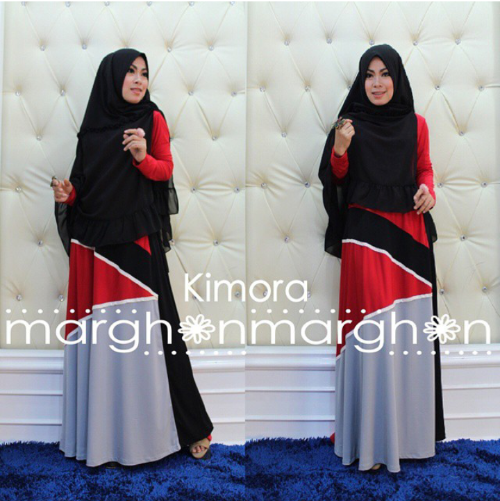 Kimora Hitam Merah Baju Muslim Gamis Modern
