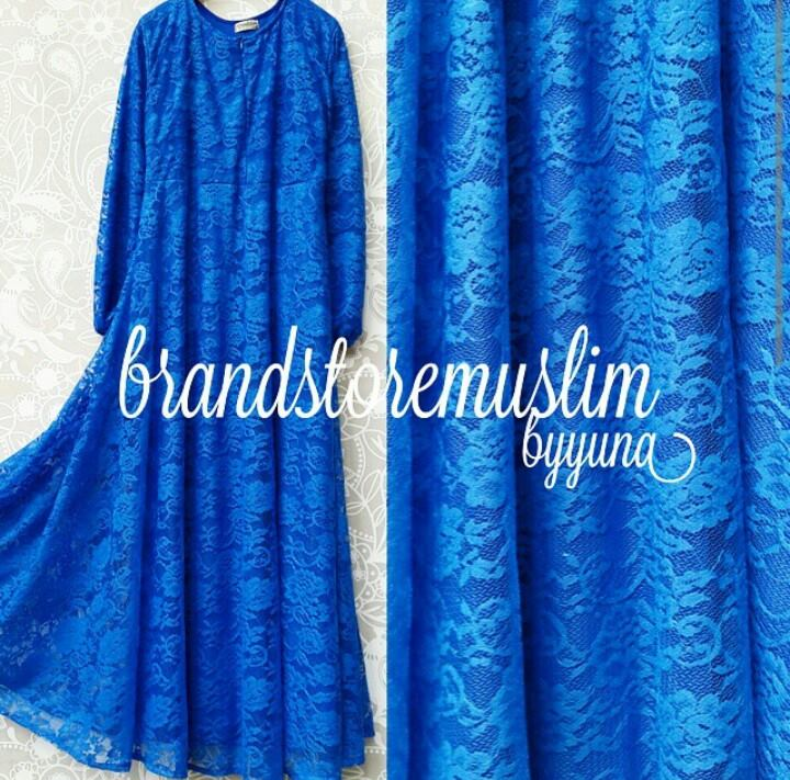 Elisha Biru Elektrik Baju Muslim Gamis Modern