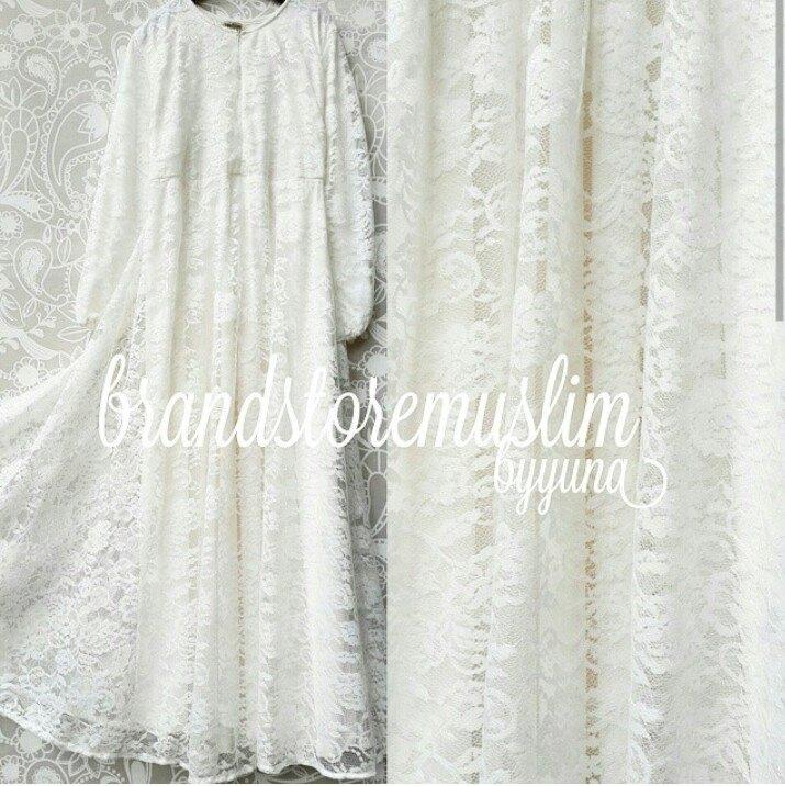 Elisha Putih Baju Muslim Gamis Modern