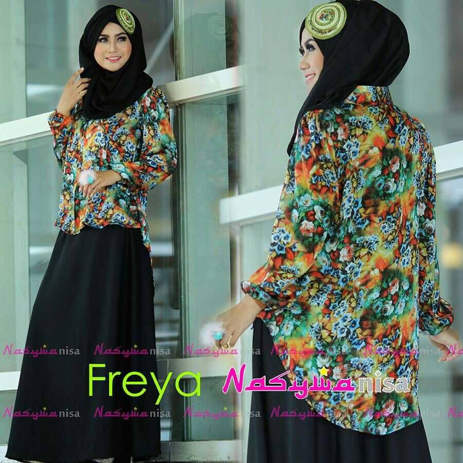 Freya Hitam Baju Muslim Gamis Modern