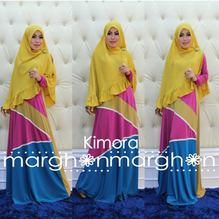 busana muslim kimora kuning magenta biru by marghon