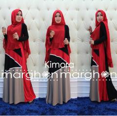 busana muslim kimora merah hitam coksu by marghon