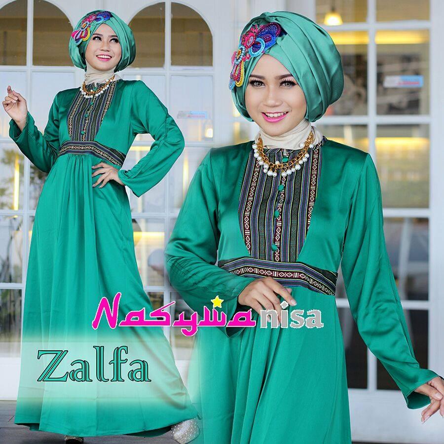 Zalfa Hijau Botol Baju Muslim Gamis Modern