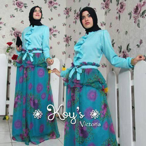 Victoria Blue Baju Muslim Gamis Modern
