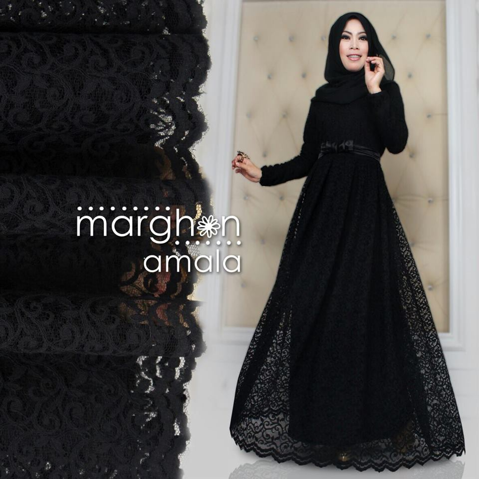 Amala Hitam Baju Muslim Gamis Modern