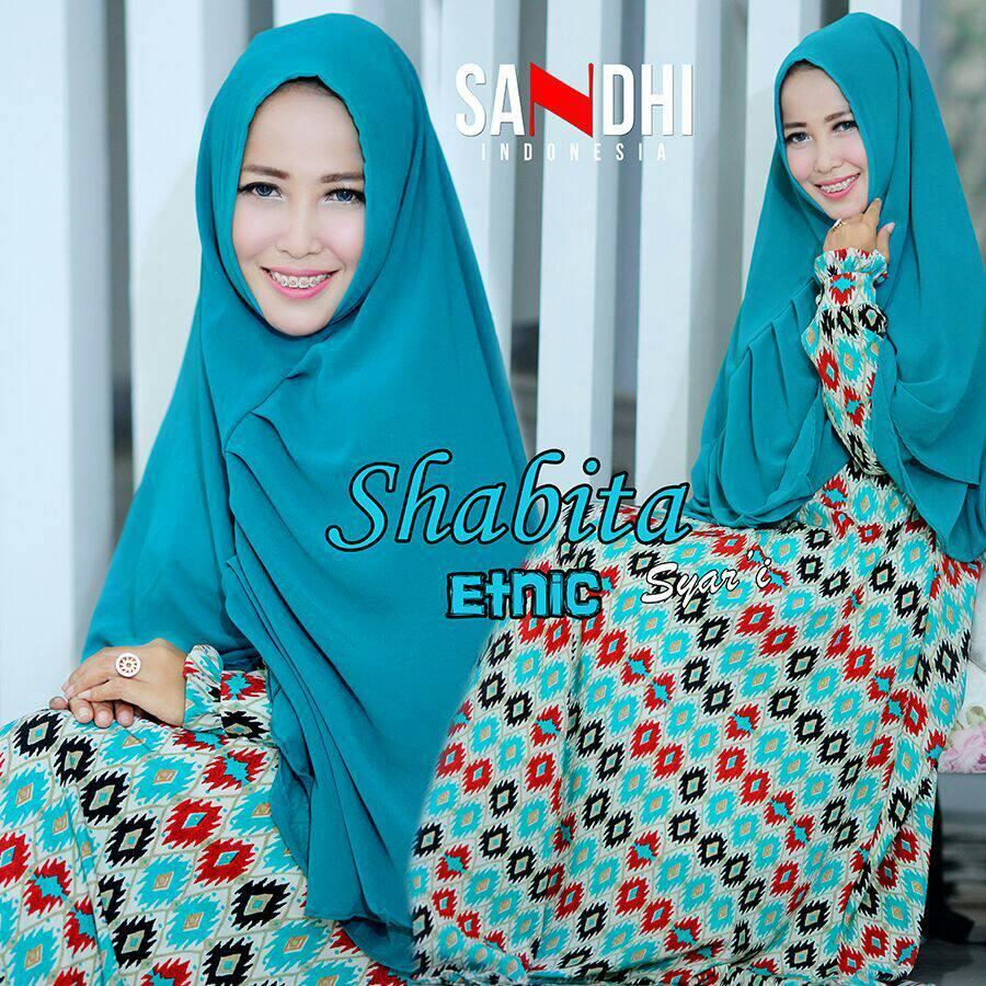 Shabita Hijau Tosca Baju Muslim Gamis Modern