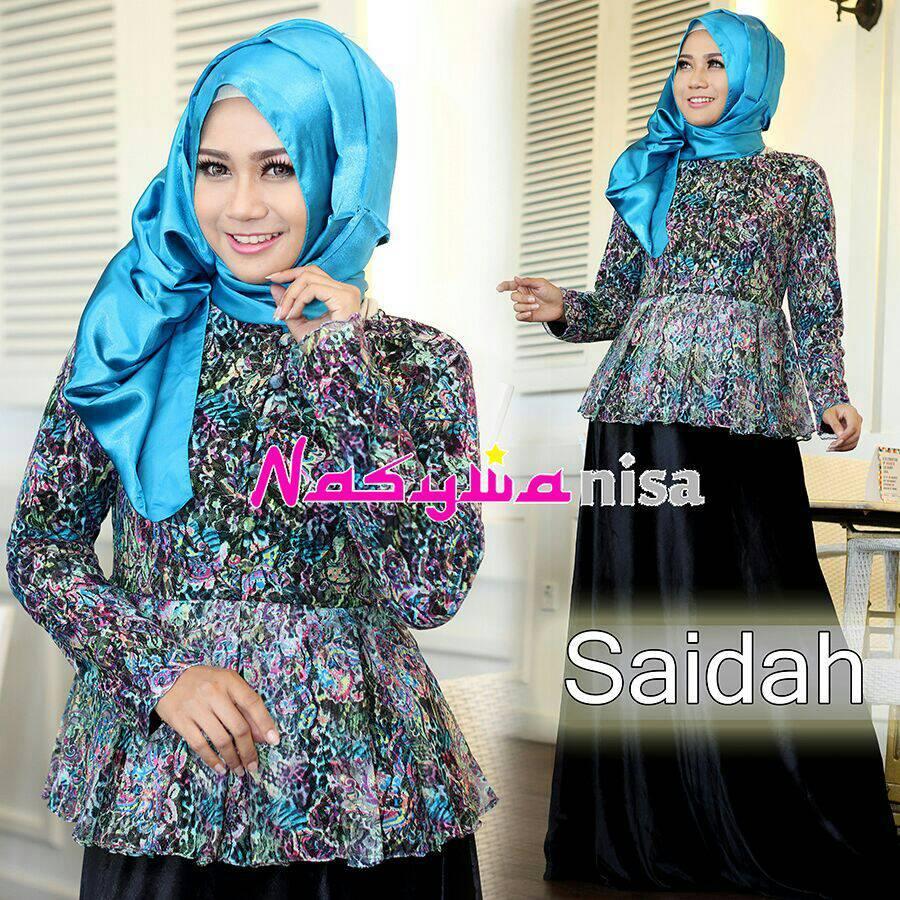 Saidah Hitam Baju Muslim Gamis Modern