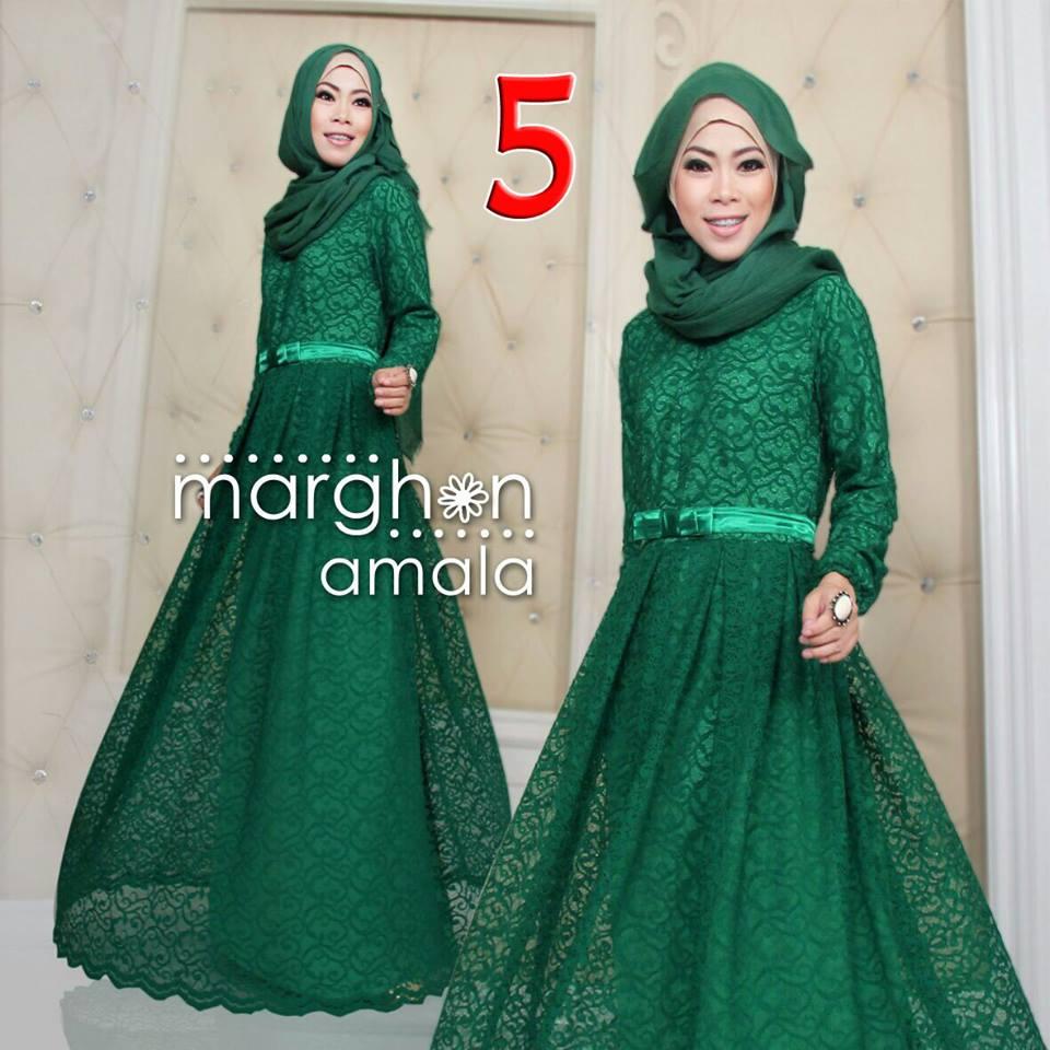 Amala 5 Hijau Botol Baju Muslim Gamis Modern