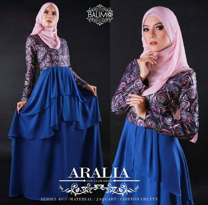 Aralia Biru Elektrik Baju Muslim Gamis Modern