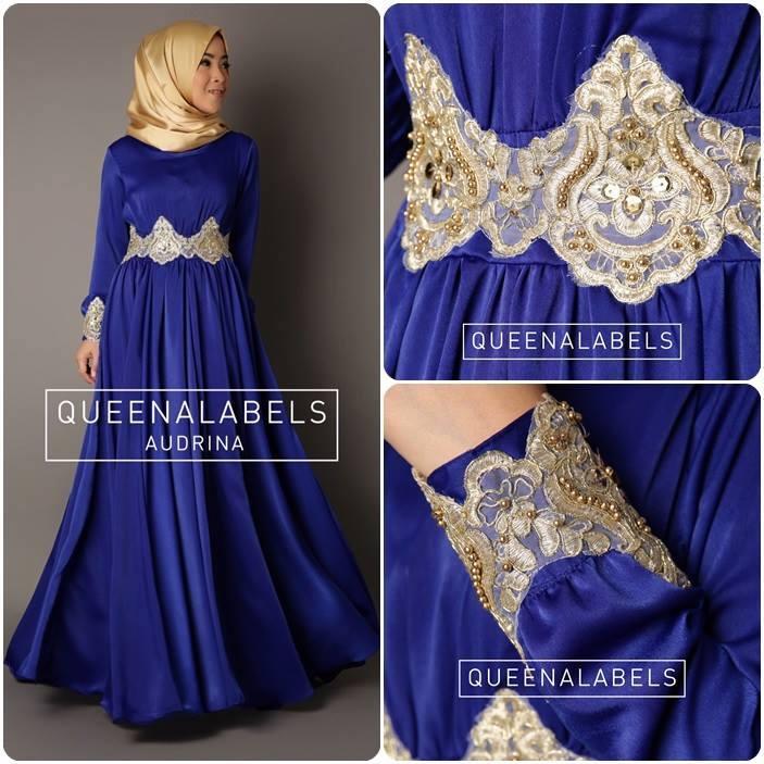 Audrina Biru Elektrik Baju Muslim Gamis Modern