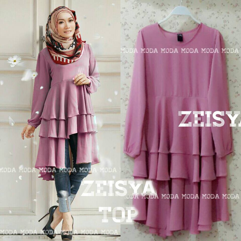 Zeisya Pink Berry Baju Muslim Gamis Modern