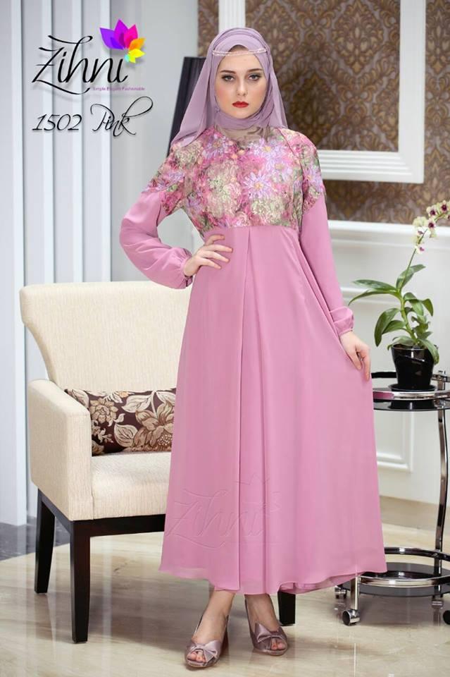 Zihni 1502 Pink Baju Muslim Gamis Modern