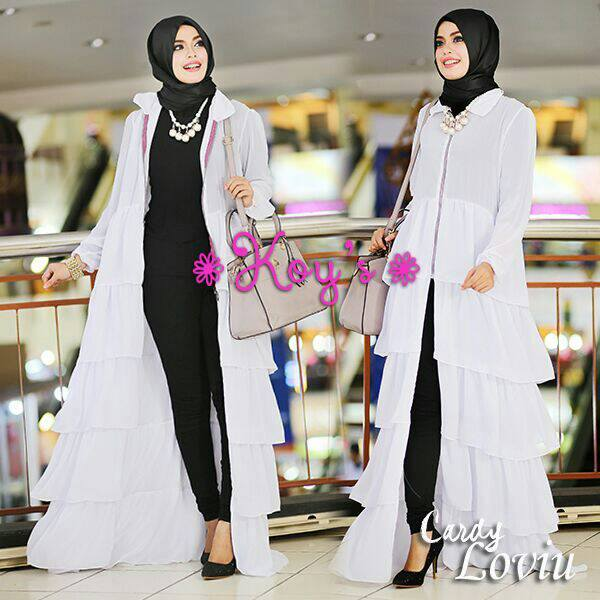 Loviu Putih Baju Muslim Gamis Modern