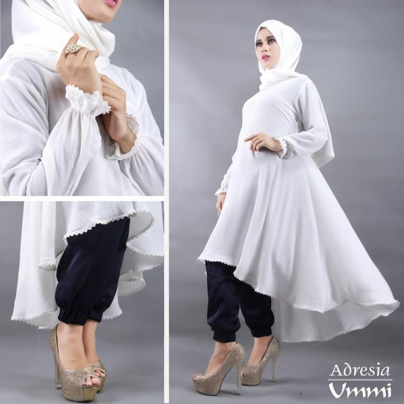 Adresia Putih Tulang Baju Muslim Gamis Modern