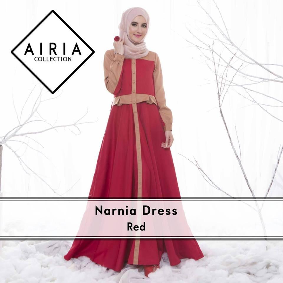 Narnia Red Baju Muslim Gamis Modern