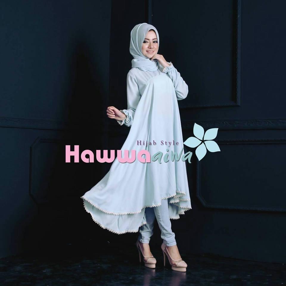Shafira Tunik Blue Baju Muslim Gamis Modern