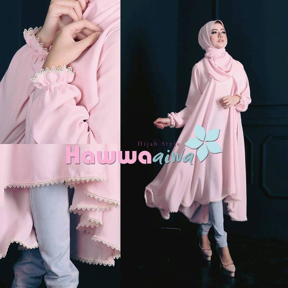 Shafira Tunik Pink Baju Muslim Gamis Modern