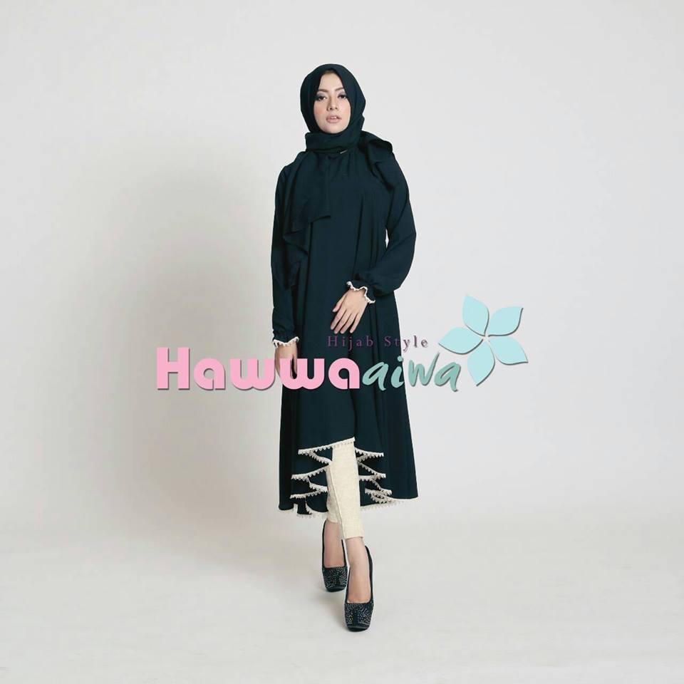 Shafira Tunik Black Baju Muslim Gamis Modern