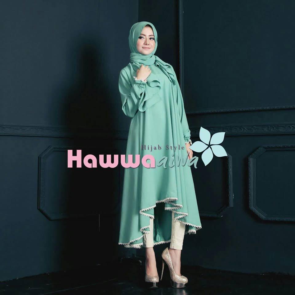 Shafira Tunik Green Baju Muslim Gamis Modern