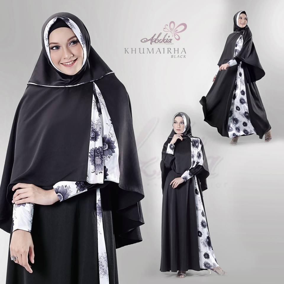 Khumairha Hitam Bunga Baju Muslim Gamis Modern