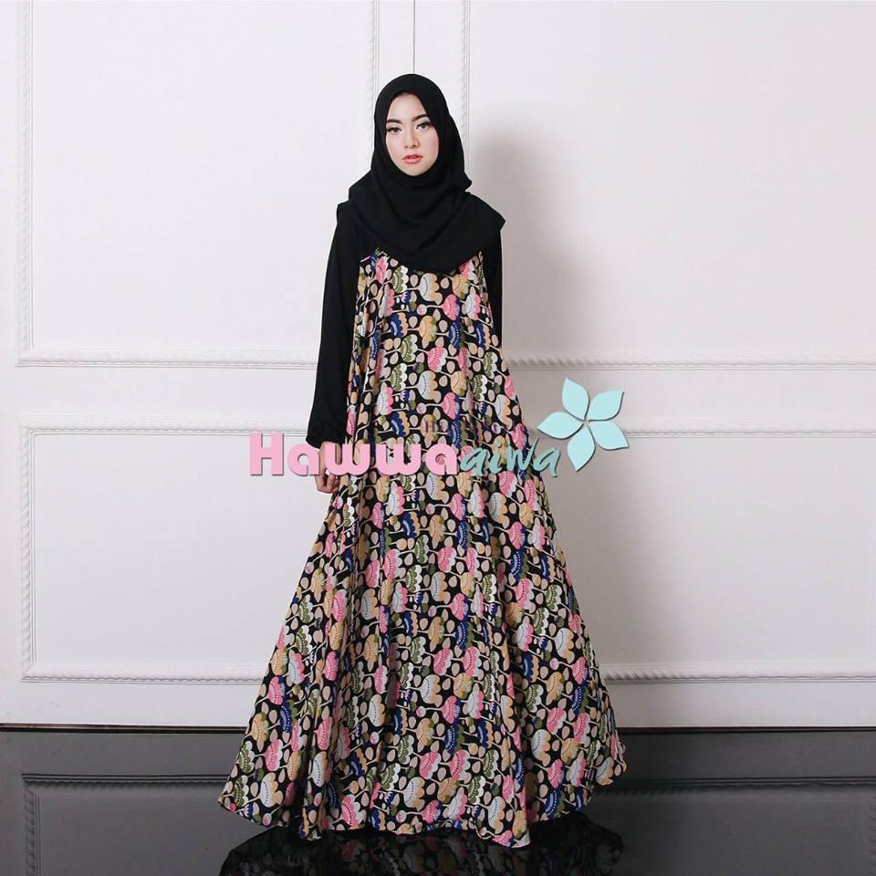 Maxwell Black Baju Muslim Gamis Modern