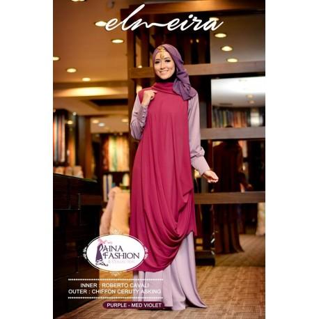 Elmeira Purple M Violet Baju Muslim Gamis Modern