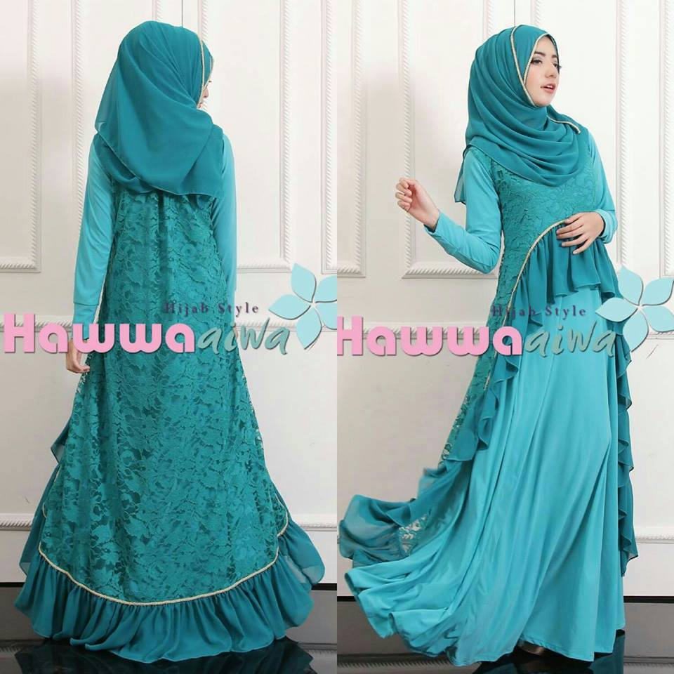 Lubella Blue Baju Muslim Gamis Modern