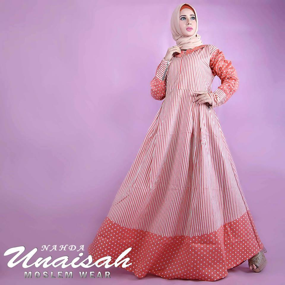 Nahda Orange Baju Muslim Gamis Modern