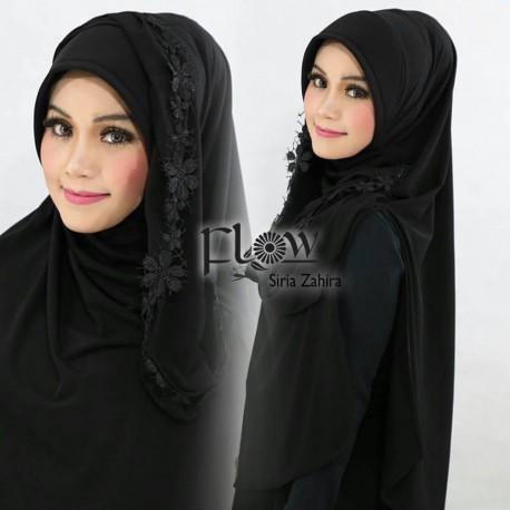 Siria Zahira Black Baju Muslim Gamis Modern