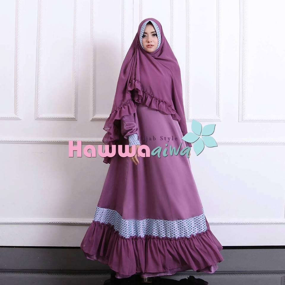 Aesha 2 D Violet Baju Muslim Gamis Modern